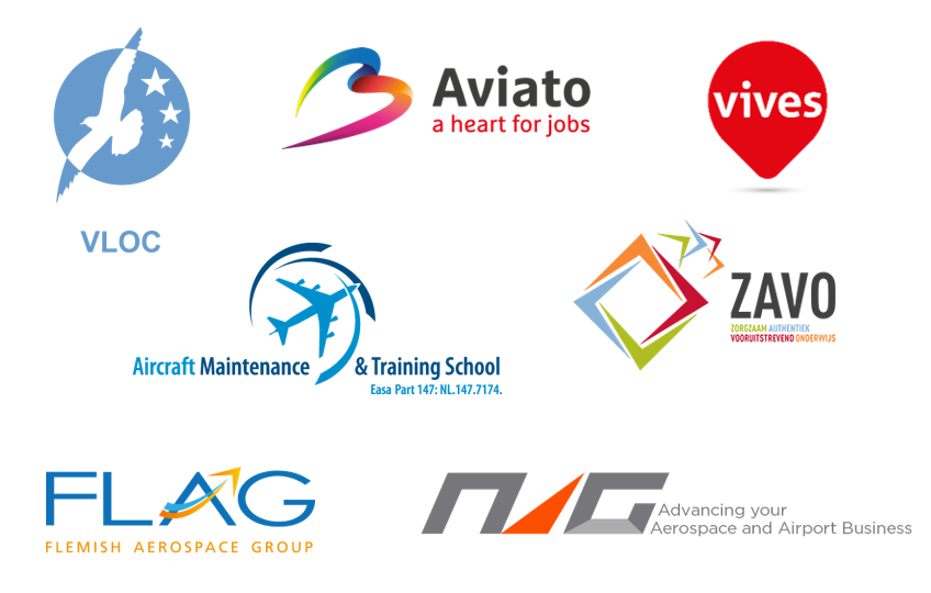 logo's van VLOC, Aviato, Vives, Aircraft Maintenace & training school, ZAVO, FLAG en NAG